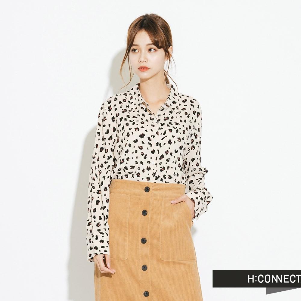 H:CONNECT 韓國品牌 女裝-氣質韓系豹紋襯衫-卡其