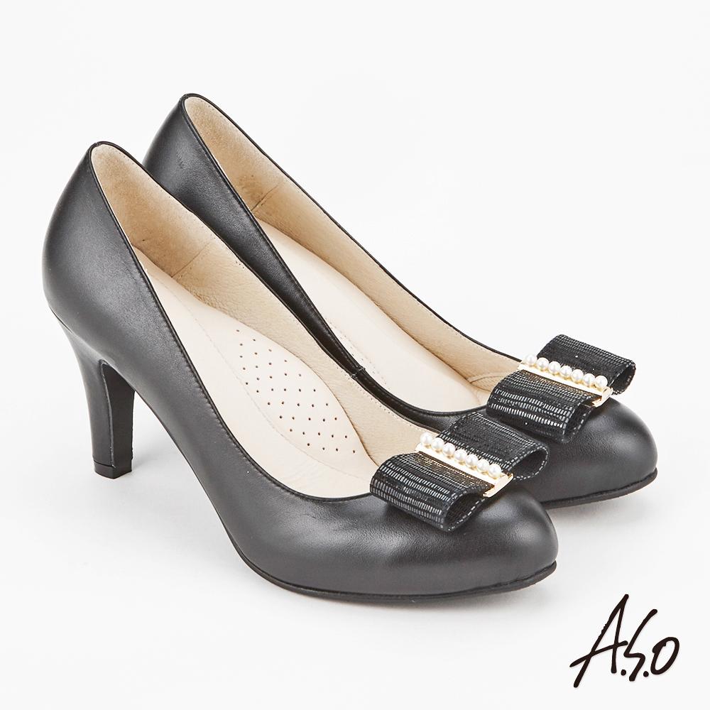 A.S.O 雅緻魅力 時尚流行經典蝴蝶結高跟鞋 黑