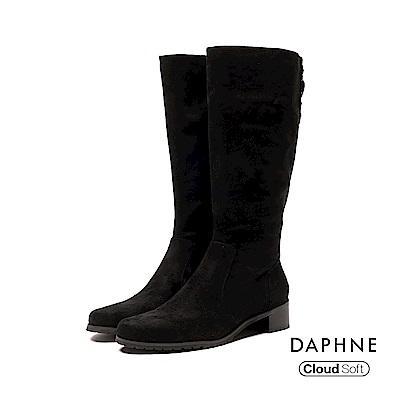 達芙妮DAPHNE 長靴-俐落排釦鉚釘顯瘦長靴-黑