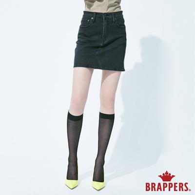 BRAPPERS 女款 Boy friend系列-彈性修身膝上短裙-黑