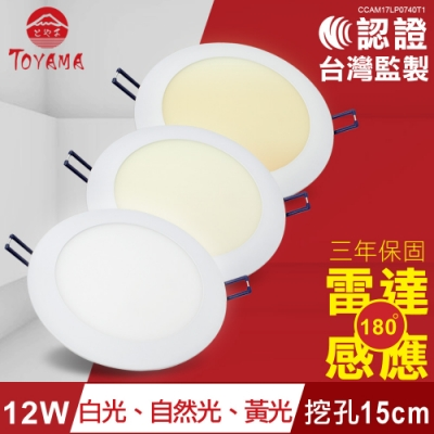 TOYAMA特亞馬 12W超薄LED雷達微波感應崁燈挖孔尺寸15cm x4件
