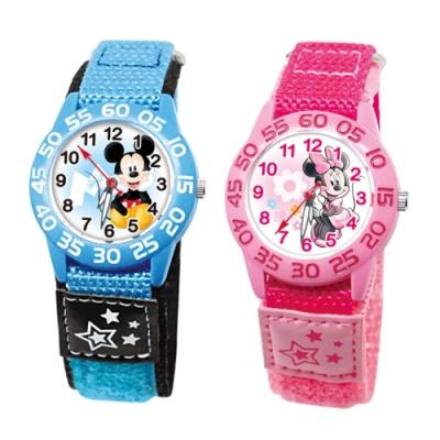 DISNEY迪士尼 自黏休閒織帶手錶米奇米妮33mm兩款任選
