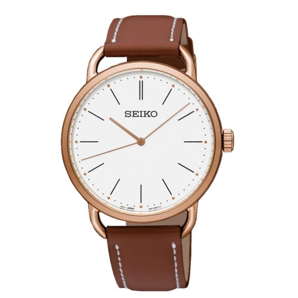 SEIKO 紳士情人皮革時尚腕錶/38mm/6N01-00B0K/SUR238P1