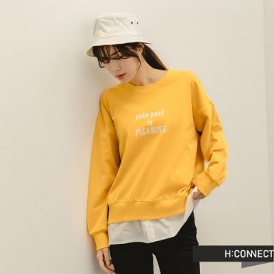 H:CONNECT 韓國品牌 女裝 -層次感英文印字落肩大學T-黃色