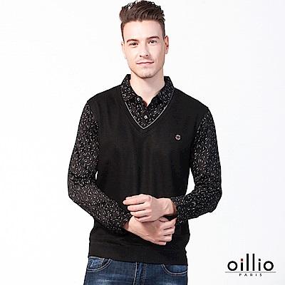 歐洲貴族 oillio 長袖POLO 假兩件式 紳士風格 黑色
