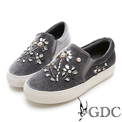 GDC-中國風梅花珍珠絨布微厚底休閒鞋-灰色