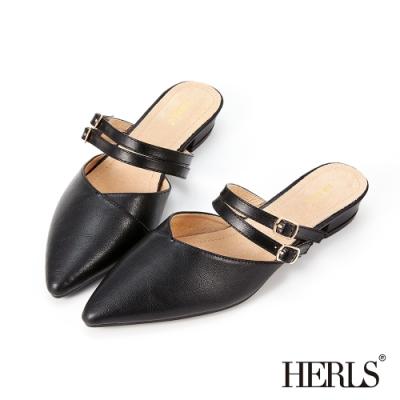 HERLS穆勒鞋-瑪莉珍雙帶釦環尖頭低跟穆勒鞋拖鞋-黑色