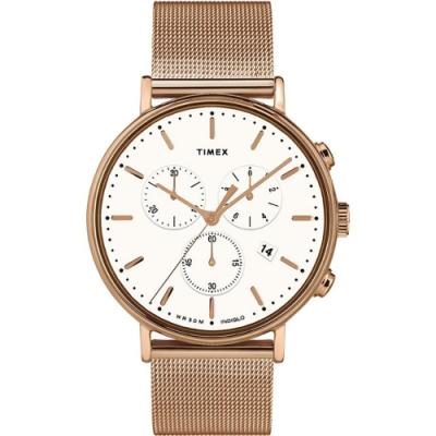 TIMEX Fairfield Chrono 優雅米蘭帶三眼計時手錶-白x玫瑰金/41mm