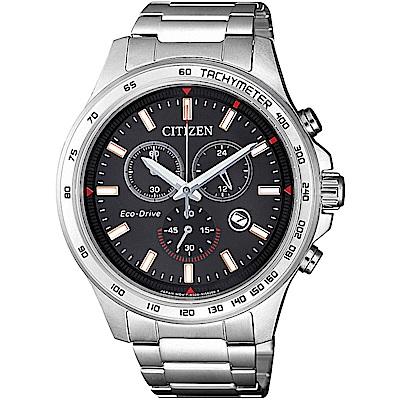 CITIZEN星辰 光動能情人限定三眼計時腕錶(AT2420-83E)-黑/42mm