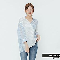 H:CONNECT 韓國品牌 女裝-不對稱設計條紋襯衫-藍