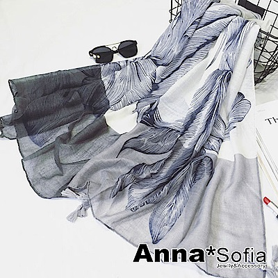 【滿額75折】AnnaSofia 線葉恢雙色 流蘇墬披肩圍巾(雙灰藍系)