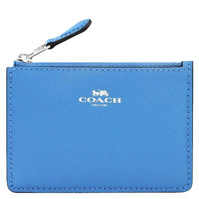COACH 水藍色防刮皮革鑰匙零錢包