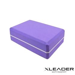 Leader X  環保EVA高密度防滑 雙色夾心瑜珈磚 紫色