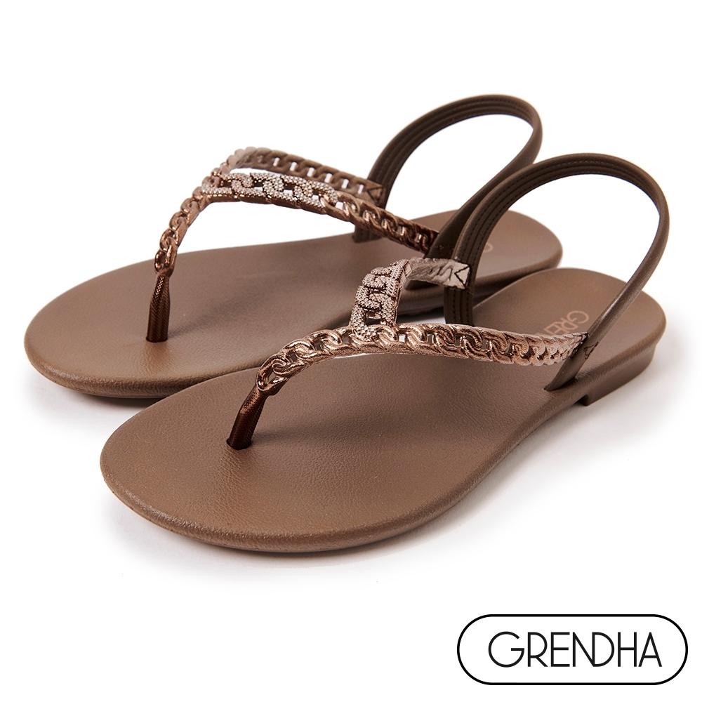 Grendha 晶鑽鍊帶時尚夾腳涼鞋-咖啡