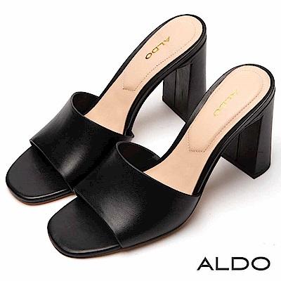 ALDO 原色真皮寬版鞋面高跟涼拖鞋~尊爵黑色