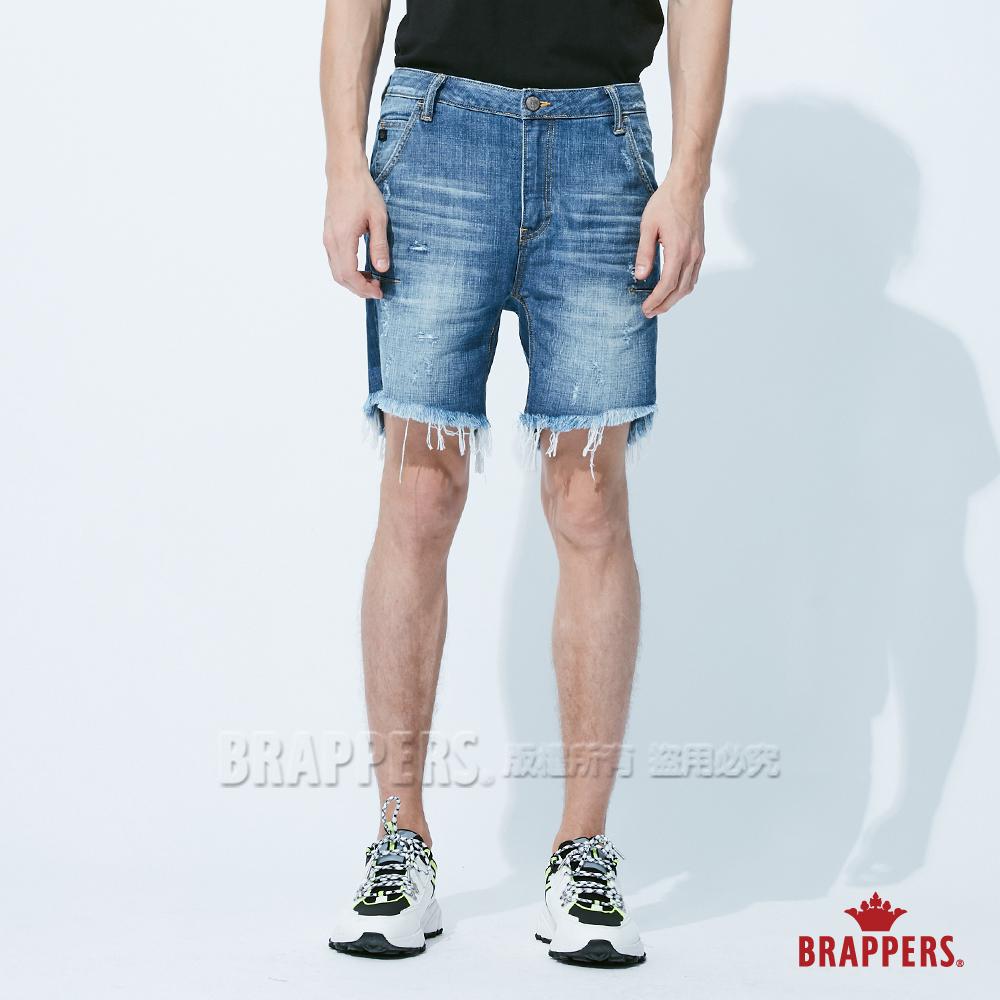 BRAPPERS 男款 HM-中腰系列-全棉五分垮褲-藍