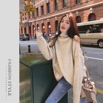 2F韓衣-簡約高領落肩氣質毛衣-2色(S-XL)