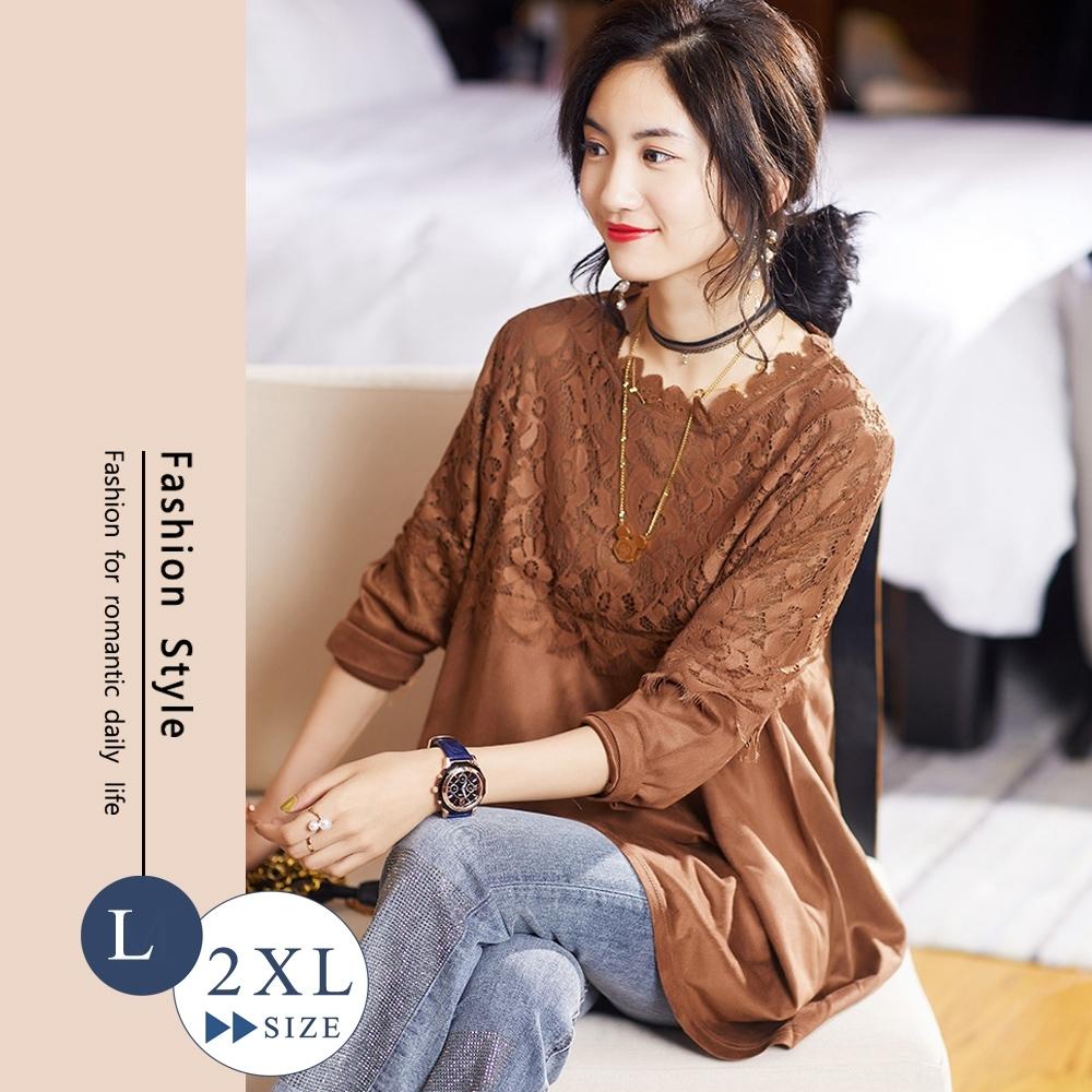 悠美學-韓系中大碼花邊圓領蕾絲造型上衣-咖啡色(L-2XL)