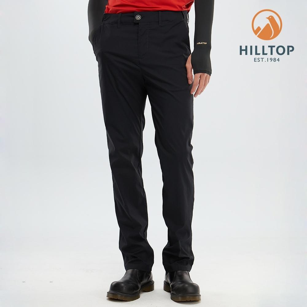 【hilltop山頂鳥】男款吸濕快乾彈性抗UV長褲S07MC6魚子醬黑
