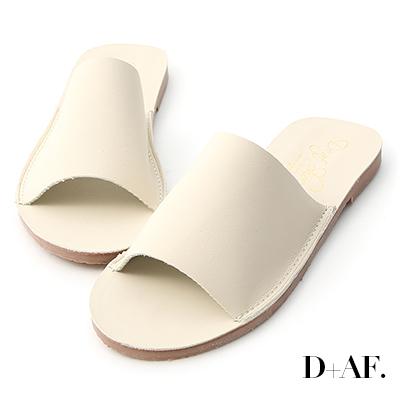 D+AF 愜意搭配.寬版一字超軟平底拖鞋*米白