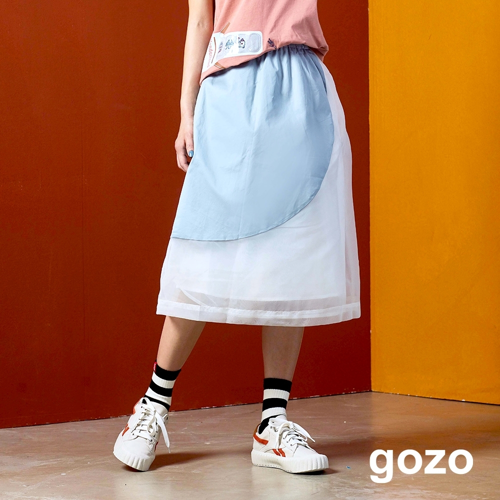 gozo 異材質拼接撞色膝下裙(二色)