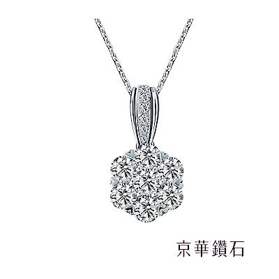 京華鑽石 鑽石項鍊 18K 蕾絲花墜二 共0.77克拉
