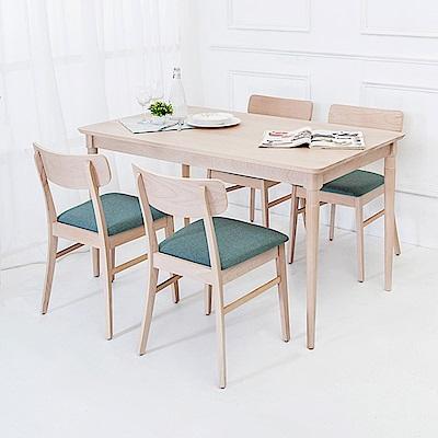 Boden-耶塔4.5尺實木餐桌椅組(一桌四椅)-135x80x76cm