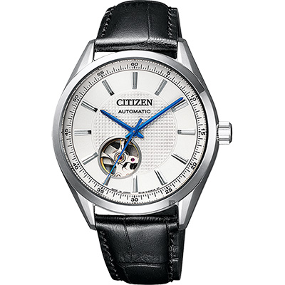 CITIZEN 星辰 小鏤空機械錶-銀x黑/40mm