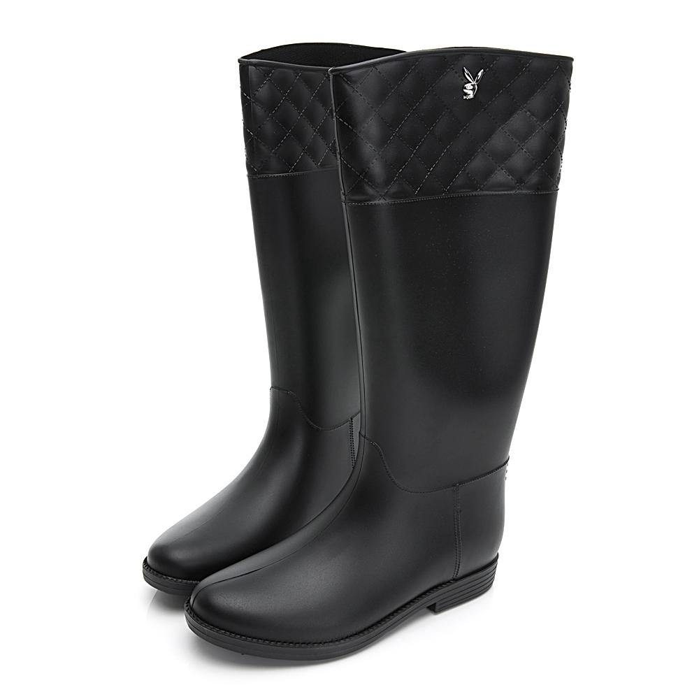 PLAYBOY 菱格顯瘦時尚高筒雨靴-黑-Y5771CC