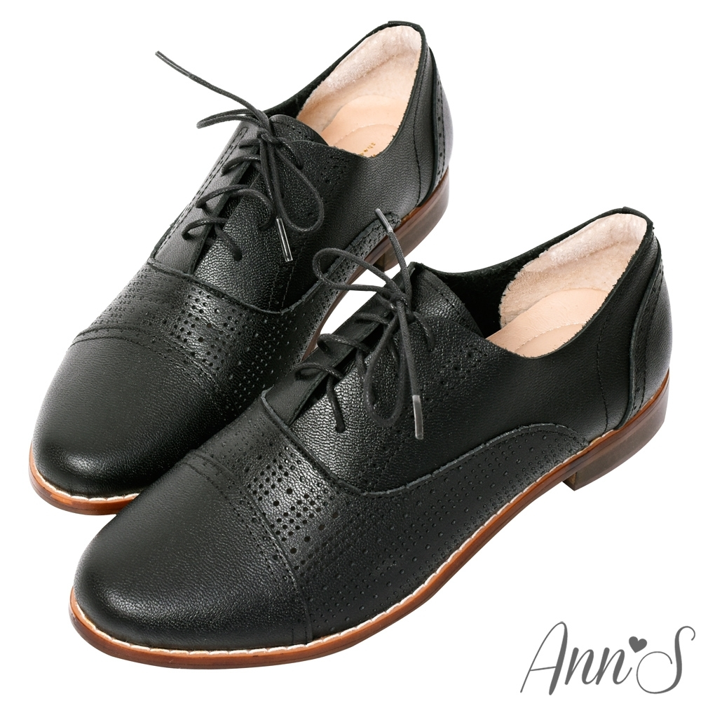 Ann'S頂級牛皮細緻圓點平底牛津鞋-黑(版型偏小)