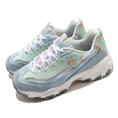 Skechers 休閒鞋 D Lites 老爹鞋 厚底 增高 女鞋 記憶型泡棉鞋墊 修飾腿型 穿搭推薦 藍 白 149251LBMT