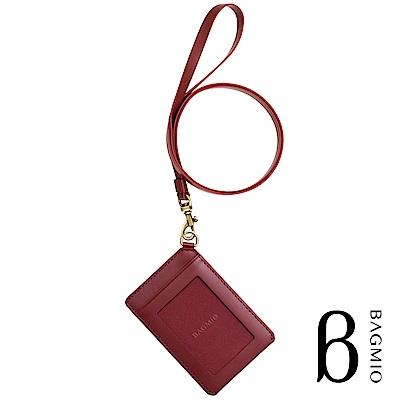BAGMIO vigor 牛皮直式雙卡證件套 酒紅 附皮背帶