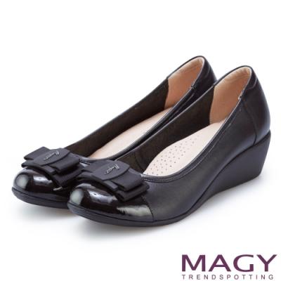 MAGY 雙材質真皮楔型 女 中跟鞋 黑色