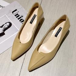 KEITH-WILL時尚鞋館 女人話題典雅素面跟鞋-黃