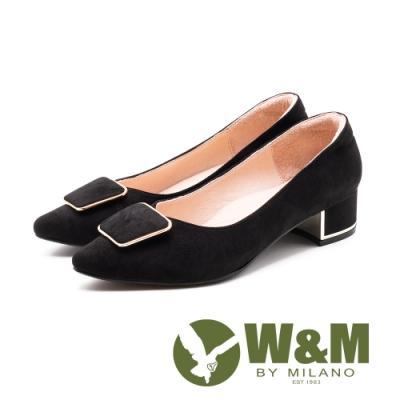 W&M 質感絨布 尖頭中粗跟鞋 女鞋-黑(另有藍)
