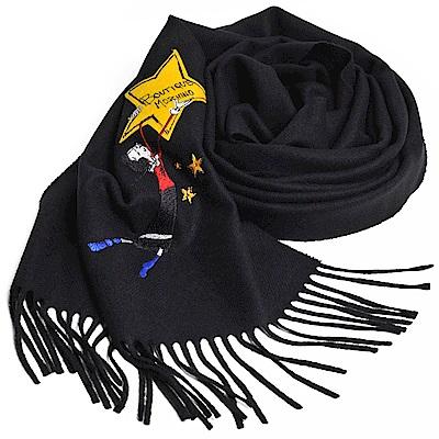 MOSCHINO BOUTIQUE 奧莉薇刺繡圖騰美麗諾羊毛披肩/圍巾(黑色)