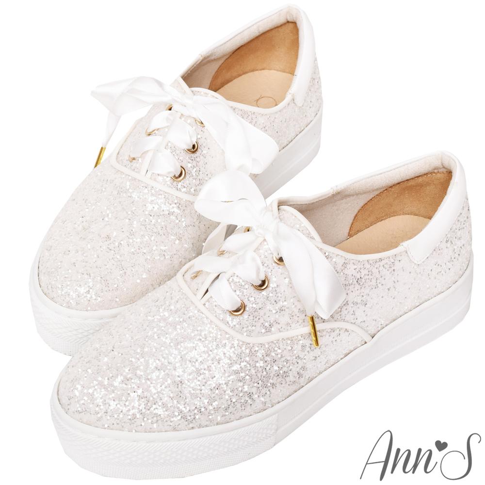 Ann'S緞帶蝴蝶結亮片碎石厚底休閒懶人鞋-白