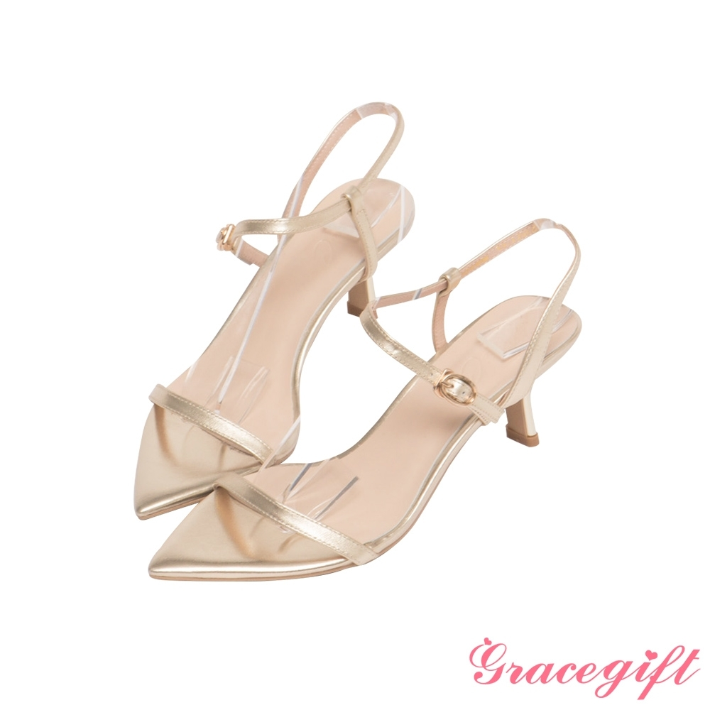 Grace gift X Annie-聯名真皮一字繫踝中跟涼鞋 淺金
