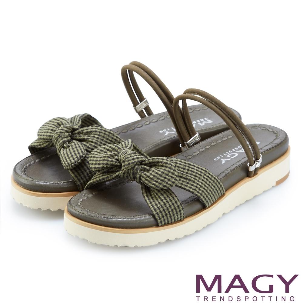 MAGY 格紋布面牛皮兩穿平底涼拖鞋 綠色