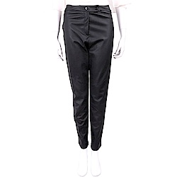 ANNARITA N 黑色拼接設計雙釦皮革長褲