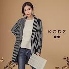 東京著衣-KODZ 韓國ONI質感條紋長版西裝外套-S.M.L(共二色)