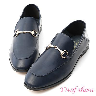 D+AF 上質品味.馬銜釦後踩式二穿紳士便鞋*藍
