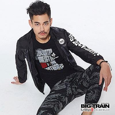 BIG TRAIN 水滸貼標圓領短袖-男-黑色