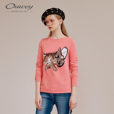 OUWEY歐薇 逗趣貓咪緹織縫鑽針織上衣(粉)