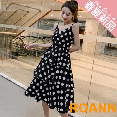 V領點點細肩帶蛋糕裙雪紡洋裝 (黑色)-ROANN