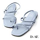 D+AF 夏日序曲.多條細帶軟墊平底涼鞋*藍