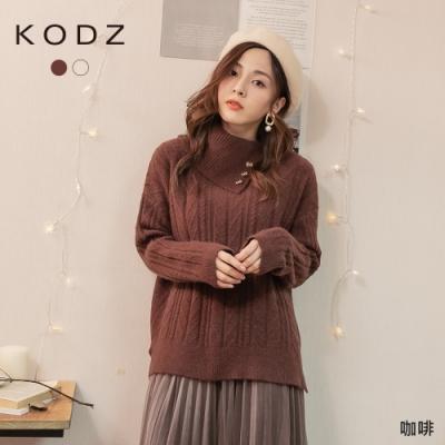 東京著衣-KODZ 韓妞推薦高領側排鈕釦設計編織毛衣/上衣