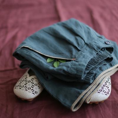 拼條亞麻寬管寬鬆棉麻九分褲-設計所在