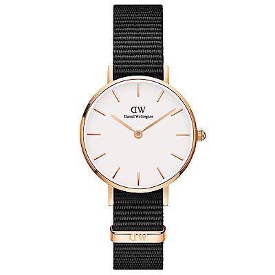 DW手錶 官方旗艦店 28mm玫瑰金框 Classic Petite 寂靜黑尼龍帆布