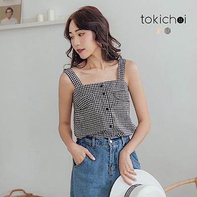 東京著衣-去度假吧田園格紋排釦假口袋背心(共兩色)
